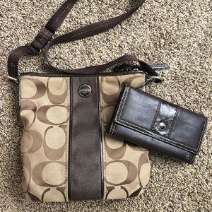 Coach cross shoulder bag and wallet